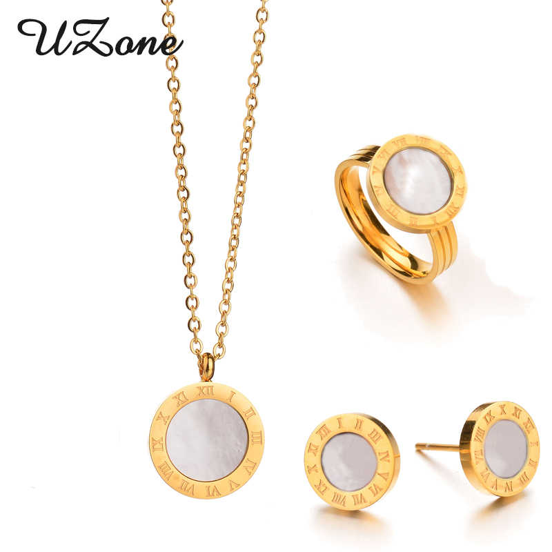 UZone Jewelry Set Brand Gold-color Shell Ring Earrings Necklace Set Luxury Women Jewelry