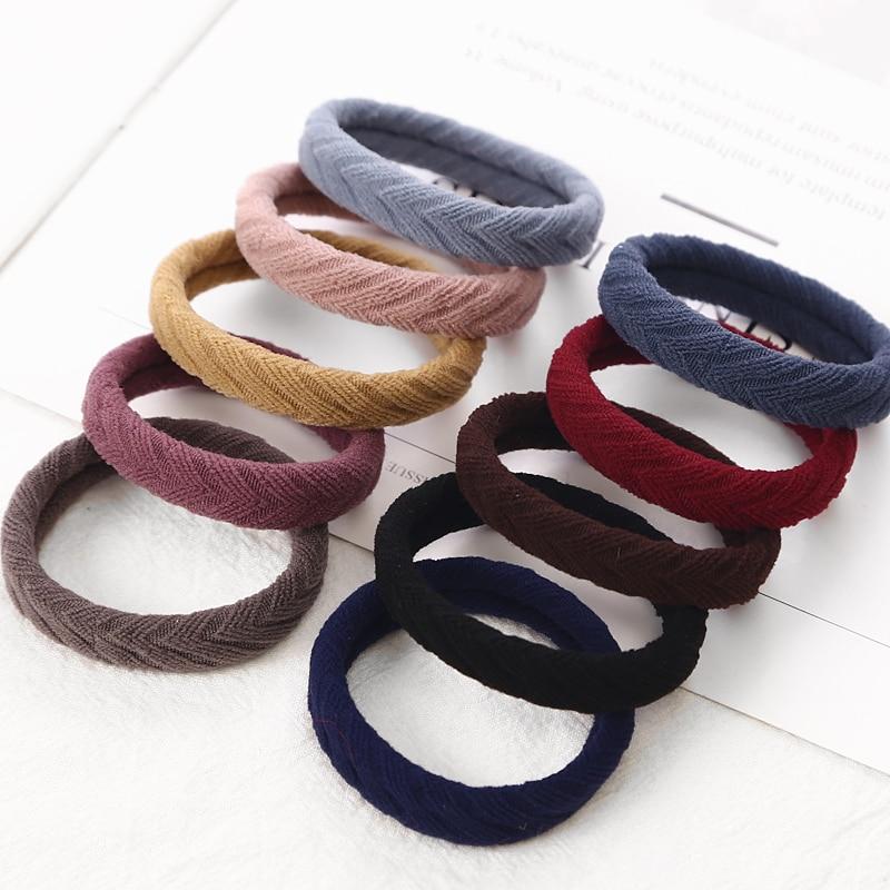 New 10PCS Women Girls Simple Basic Elastic Hair Bands Tie Gum Scrunchie Ponytail Holder Rubber Bands Fashion Hair Accessories