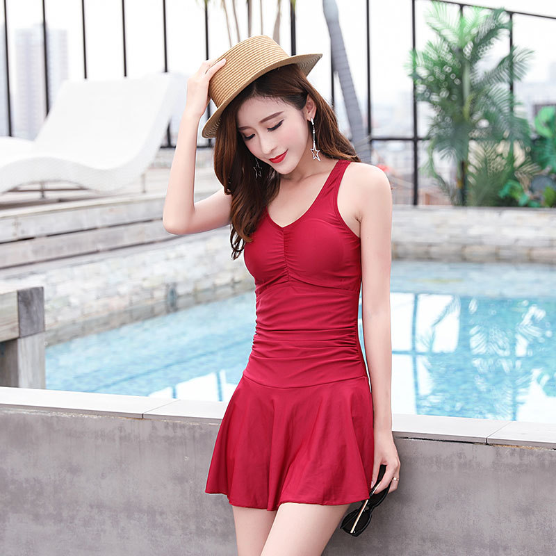 625758483b Women's Halter One Piece Swimming Costume V-Neck Skirted Swimsuit Female  Bathing Suit Solid Color