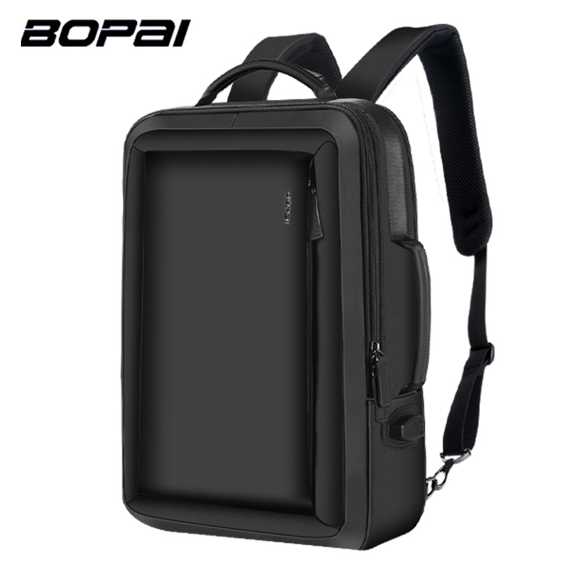 BOPAI Multifunction Backpack Enlarge Anti theft Laptop Backpack USB External Charge 15.6 Inch Men School Backpack Drop Shipping bopai brand backpack usb charging backpack laptop shoulders anti theft usb backpack 15 inch laptop backpack men waterproof