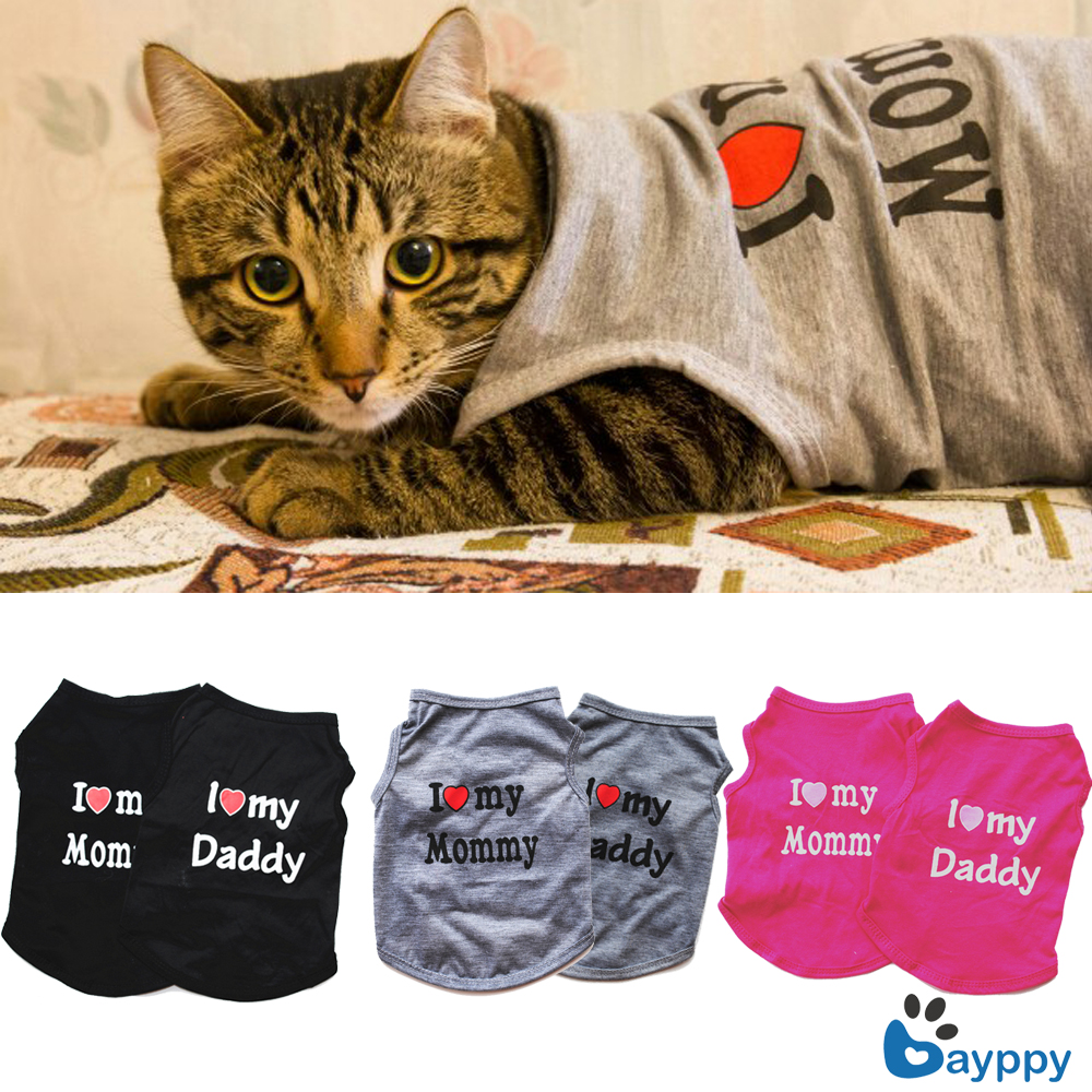 """I LOVE MY MOM"" Design Summer Pets Puppy Small Dog Cat Pet Kitten Clothes Vest Lovely Pet T-Shirt Apparel Costumes 3 Colors"