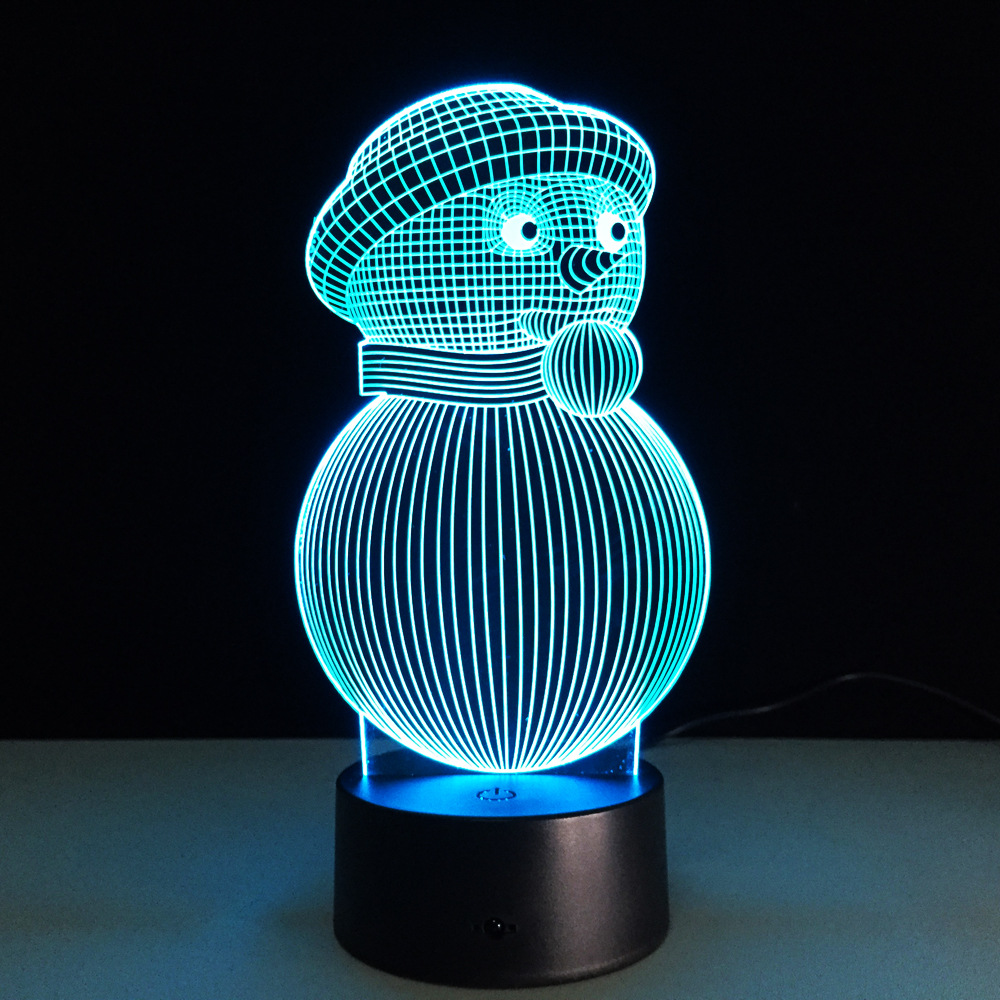 Night lights holiday - Holiday Night Light 3d Led Lamp Novelty Snowman Usb Touch Switch Table Lamp Luminaria De Mesa Home Decor Kid Gift