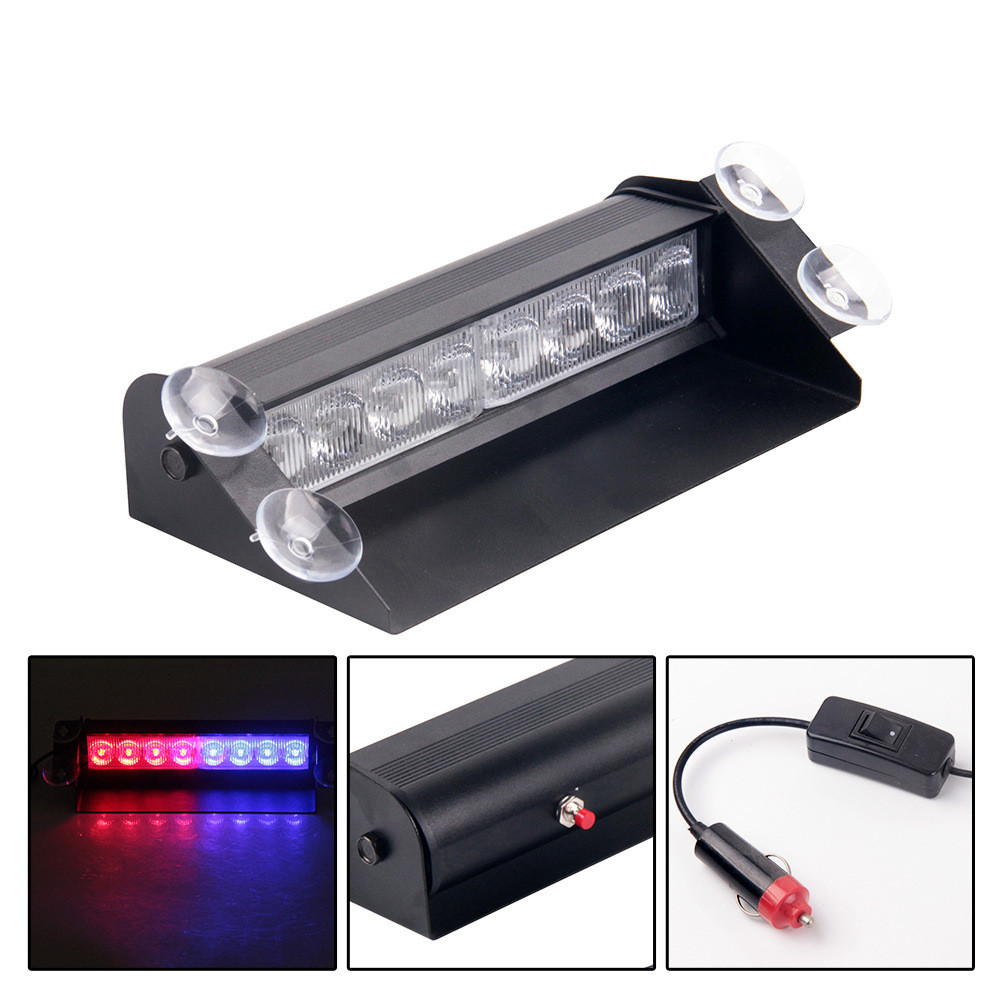 Car Led Emergency Dash Strobe Flash Warning Light 12V 8 Led Flashing Lights Red Blue White Amber Police lights Car styling s4 viper car windshield led strobe light flash signal emergency fireman police beacon warning light red blue amber white