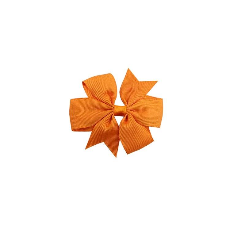 40 цветов сплошная корсажная лента банты заколки шпилька девушка бант для волос, бутик заколки для волос аксессуары для волос - Color: a17 Orange Yellow