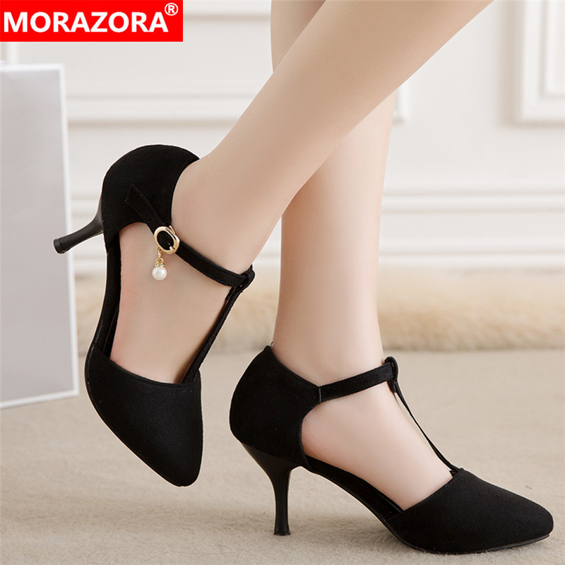 MORAZORA 2019 Wholesale Big Size 34-47 Women Pumps Flock Summer Shoes Elegant Thin High Heels Shoes Dress Shoes Office Shoes
