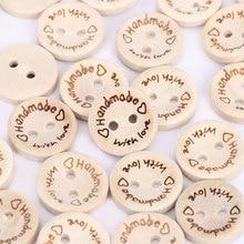 100 шт./упак. натуральный Цвет ручной работы с надписью «Love» швейная деревянная пуговица 15 мм круглые кнопки два отверстия для Аксессуары для одежды