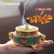 ERMAKOVA держатели для благовоний горелка 4 дюймов Тибетский Стиль окрашенные эмаль цинкового сплава катушки держатель для благовоний украшения дома и офиса подарок