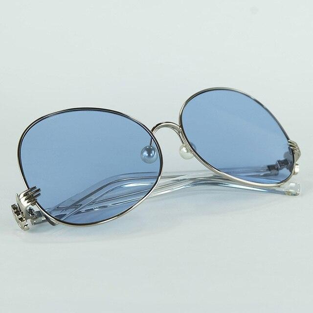 f6f17598df 2018 Nouveau Grand Ronde Femmes lunettes de Soleil En Métal Plein Cadre  Avec Tiges Jambes Spécial