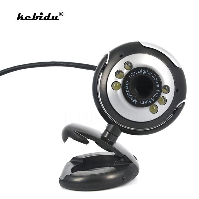 Kebidu New USB 2.0 Digital HD Webcam Máy Ảnh Webcam 30.0 Mega Pixels 6 LED Web Cam với Mic Microphone cho Skype cho MSN PC