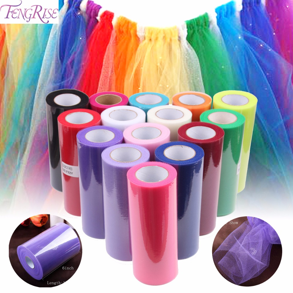 FENGRISE Baby Shower 15cm 25yd Tulle Roll Bridal Party Wedding Decoration Spool Tutu Birthday Gift Wrap Christmas Event Supplies