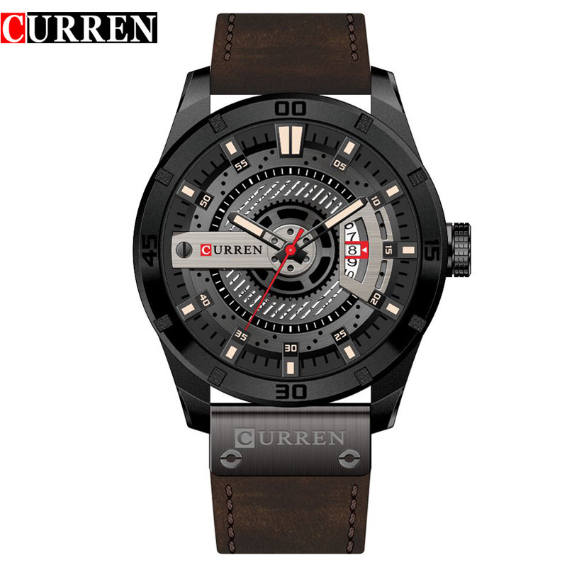2017 Curren Military Quartz Men Watches Brand Luxury Leather Strap Waterproof Sport Mens Watch Calendar Clock Relogio Masculino xinge top brand luxury leather strap military watches male sport clock business 2017 quartz men fashion wrist watches xg1080