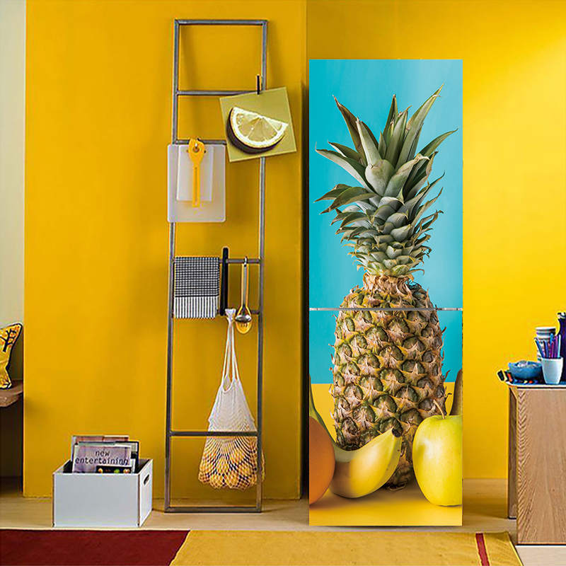 3D Effect pineapple Fruit vegetable Pattern Fridge Sticker PVC Refrigerator Door Kitchen Self-adhesive Wall Stickers Decor