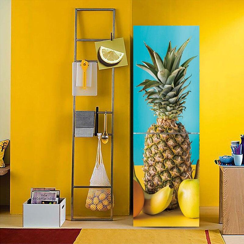 3D efecto piña fruta vegetal patrón nevera pegatina de PVC de la puerta de la nevera cocina auto-adhesivo pegatinas pared Decoración