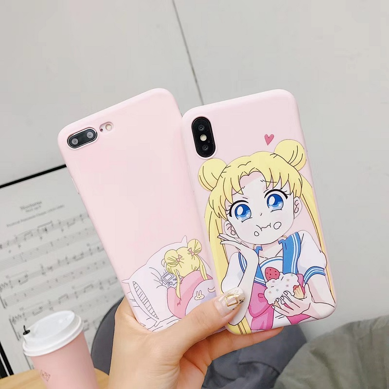 Half-wrapped Case Orderly 2018 Stylish Cartoon Sailor Moon Matte Soft Tpu Back Full Cover For Iphone Xr Xs 8 6s 7plus Max Skinny Shell Protection Case Drip-Dry