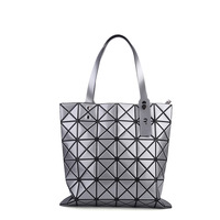 japan style geometric rhombus fold handbags women Folding shoulder bag triangle stitching mosaic square lattice tote handle bags