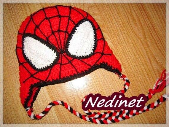 Del Ragazzo Spiderman Mano A Maglia Cappello Con Paraorecchie