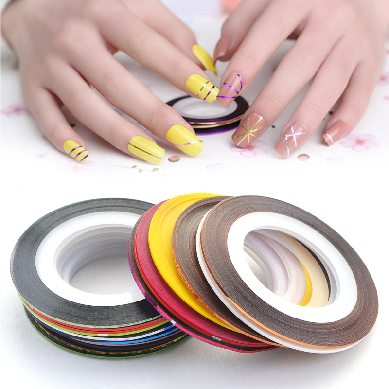 30pcs Rolls Striping Tape Line Nail Art Sticker Tools Foil Tips Tape Line DIY Design Decorations for Nail Accessories Stickers 12 colors 3mm waterdrop rhinestone nail art salon stickers tips diy decorations with wheel chic design 5gpn