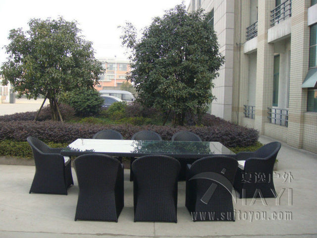 9 pcs Black UV Resistant Wicker Rattan Garden Dining Sets For Restaurant transport by sea