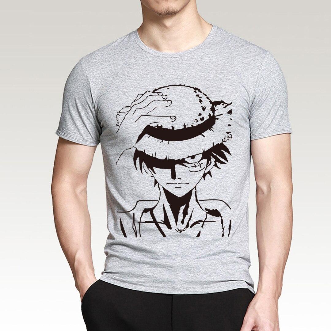 Hot Anime One Piece Monkey.D.Luffy cartoon   t     shirt   2019 summer new 100% cotton high quality short sleeve   shirt   brand clothes