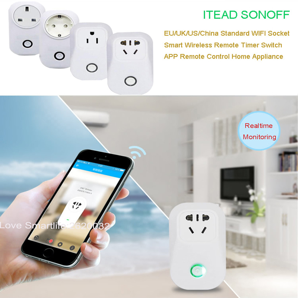 Itead Sonoff S20 Wireless WIFI Remote Control Socket Smart Timer Plug Smart Home Power Socket EU US UK Standard by App Ewelink sonoff eu us uk au standard wifi smart socket wireless remote control socket smart home automation smart power socket plug
