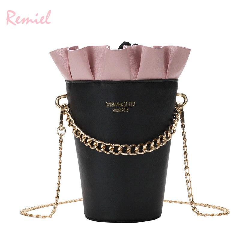 46e1093505c9 US $13.28 5% OFF|Round Bucket bag 2018 New Fashion Women's Designer Handbag  Quality PU Leather Women bag Cute Chain Tote Shoulder Crossbody Bags-in ...