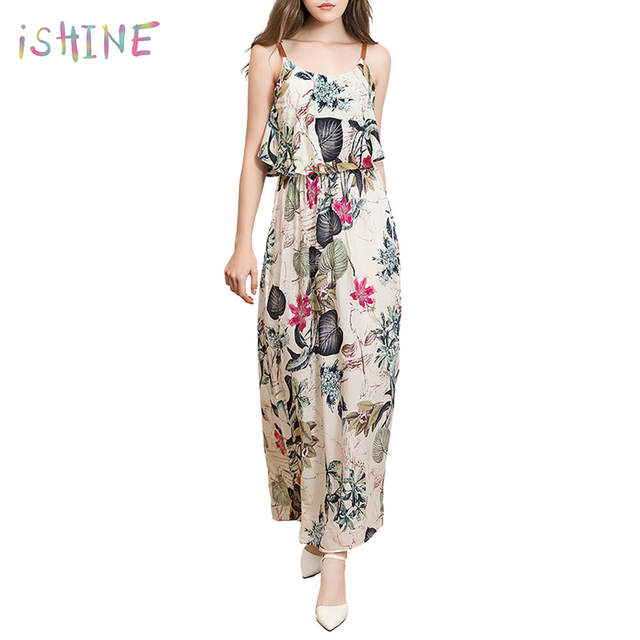 7e7ca92d5a39 2018 Summer Beach Boho Dress Spaghetti Strap Vintage Floral Print Maxi Dress  Women Cotton Sexy Loose Ruffles Dresses vestidos