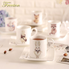 Japanese Kawaii Cartoon Bone China Coffee Cup Cute Anime Animal Ceramic Tea  Cup Saucer Set Porcelain Teacup Teatime Drinkware 62aaa7568984