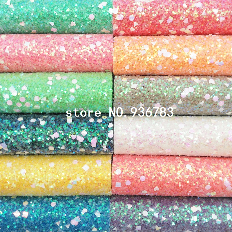 1PCS A4 SIZE 21X29cm  Synthetic Leather,  Chunky Glitter Sheets Glitter Leather For Bow DIY  Handbags Shoes  MK070A