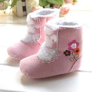 De color rosa bordado de maní pequeñas botas de algodón botas botas de niño outsole suave zapatos niño bebé