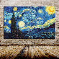 Starry Night Of Vincent Van Gogh Handmade Reproduction Oil Painting On Canvas Wall Art Picture For