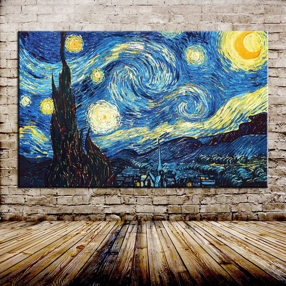 starry night of vincent van gogh handmade reproduction oil. Black Bedroom Furniture Sets. Home Design Ideas
