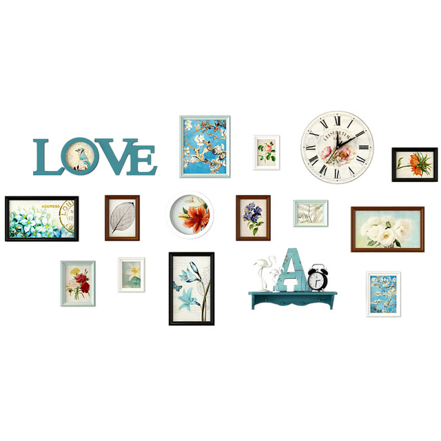 13 pcs Multi Color Wall Photo Frmae Set Lovely Home Decor Wooden Picture Frames DIY Vintage Photo Frame For Family Baby Picture