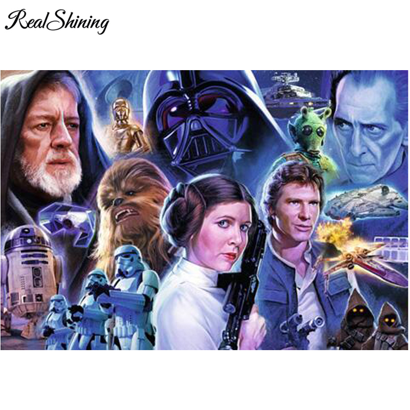 Realshining Star Wars Diy Diamond Painting Needlework Full Square Mosaic Diamond Embroidery Cross Stitch Pattern Decor Dm535 A Complete Range Of Specifications Diamond Painting Cross Stitch Arts,crafts & Sewing