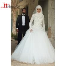 Vestido Noiva Muslim Wedding Dress Hijab Long Sleeve Arabic Wedding Gown Satin 2016 Ball Gown Wedding Dresses Robe De Mariage