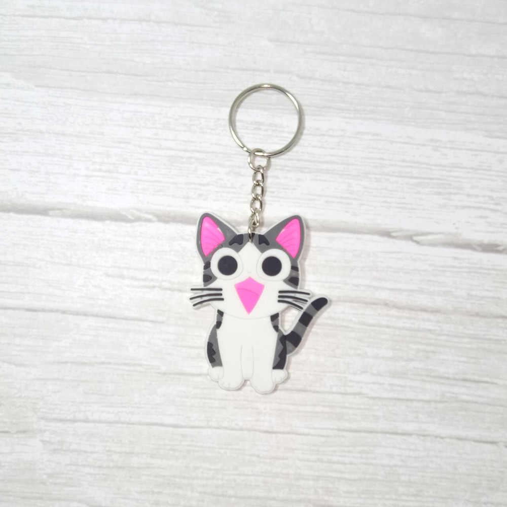 1PCS Soft PVC Figura Dos Desenhos Animados Stich Totoro Chaveiro Olá gatinho gato Anel Chave Bonito Anime Keychain Brinquedo do Miúdo chave Titular Trinket Presente