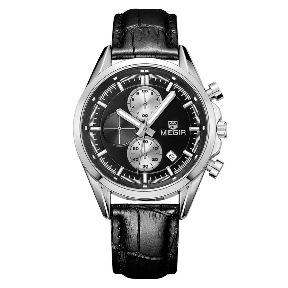 MEGIR 2712 Classic New Date Chronograph Sport Watch Business Quartz Leather Watches Men Military 3ATM 3Eye
