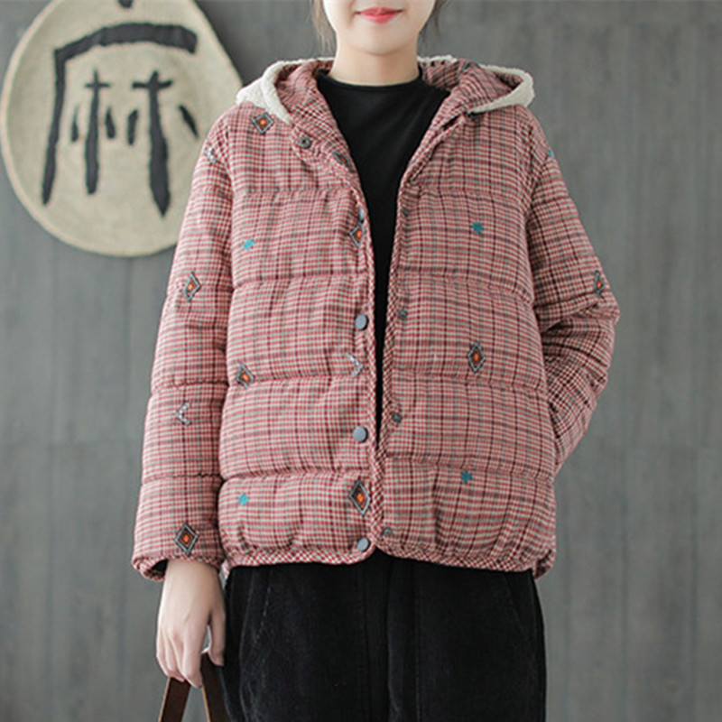 Johnature New Casual Plaid Thicken Hooded Collar Women Parkas 2019 Winter Warm Loose Coats Patchwork 2