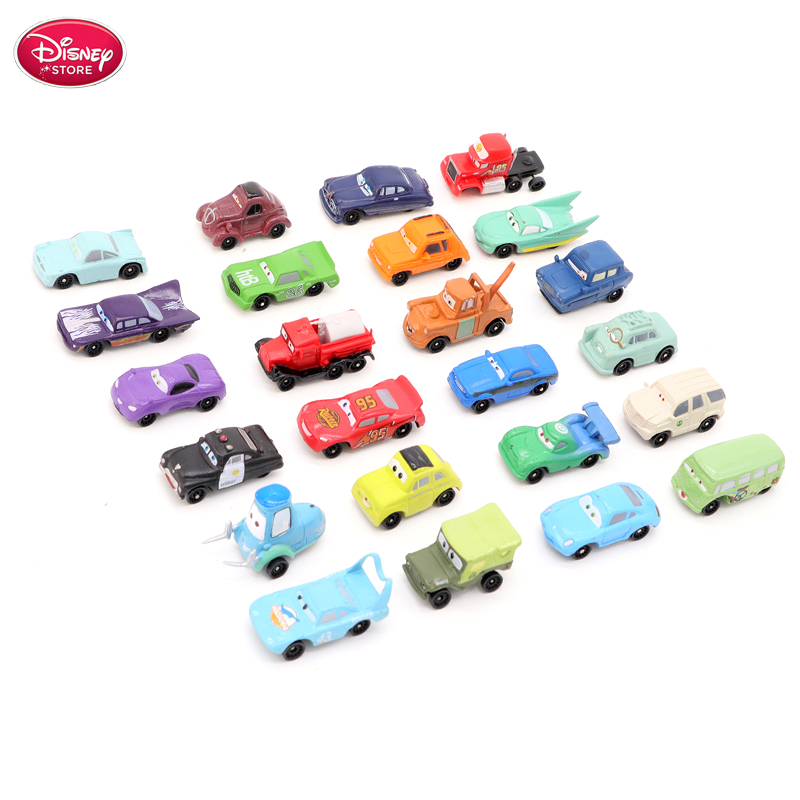 24 Pcs/set Disney Pixar Car 2 3 Model Figures Lightning McQueen Mater Jackson Storm Diecast Vehicle for Kids Toys Gift