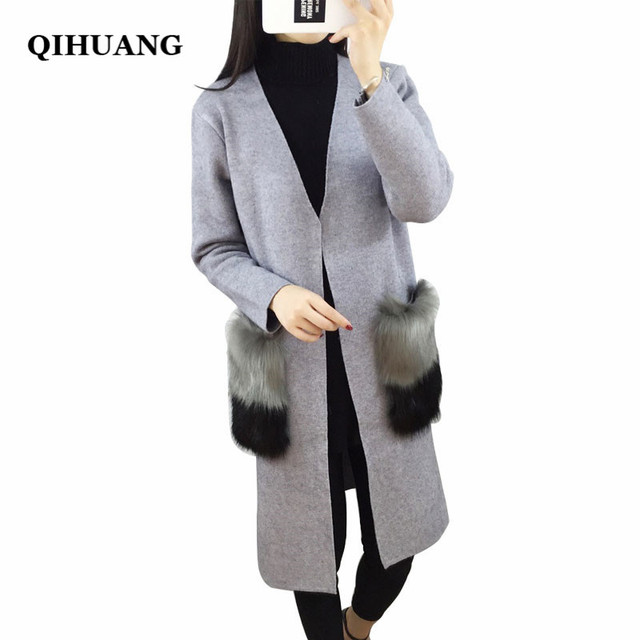 Qihuang Новинка 2017 года женские длинный кардиган свитер элегантный Меха карманы вязаный кардиган пальто яркой отделкой женские джемперы кардиганы