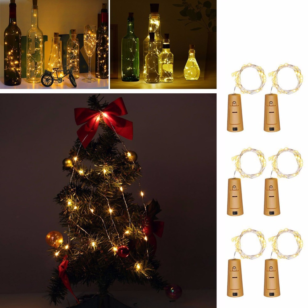 2M 20-LED Koppar Wire String Light Garland för Glas Craft Bottle LED - Festlig belysning