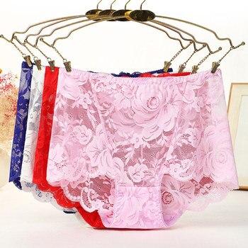 9dfd0ccbd 4 unids lote nueva ropa interior femenina lencería sexy breve ropa interior  de Mujer talla grande 5XL encaje flor calado bragas de mujer