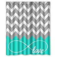 Memory Home Love Infinity Forever Love Symbol Chevron Pattern Turquoise Grey White Waterproof Bathroom Fabric Shower