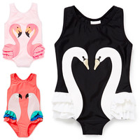 Girls Swimsuit INS Cartoon Kids Swimwear With Swimming Cap Parrot Swan Flamingo 2017 Baby Girl Bathing