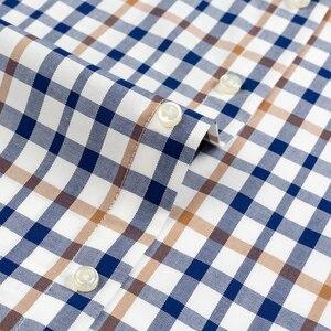 Image 5 - Męska młodzieńcza witalność na co dzień w całości zapinana na guziki koszula w kratę pojedyncza naszyta kieszeń z długim rękawem wygodne bawełniane koszule w standardowym kroju