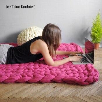 5,5 см до 6 см диаметр грубой шерсти, ручной тканый ковер, вязаное одеяло, многоцелевой, высокое качество креативное одеяло