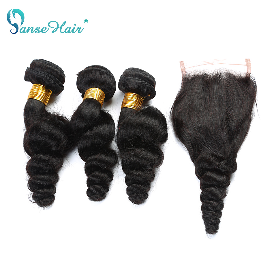 Panse Hair Vietnamese Loose Wave Hair 3 Bundles Human Hair With 4*4 Lace Closure Customized 8 To 30 Inches Hair Weaving Non Remy-in 3/4 Bundles with Closure from Hair Extensions & Wigs    1