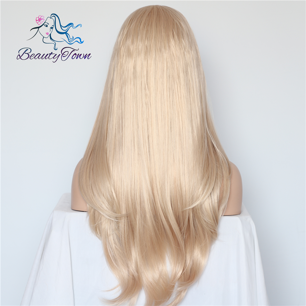 Image 4 - BeautyTown Blonde Beige Natural Wave Heat Resistant Hair White Women Daily Makeup Wedding Party Gift Synthetic Lace Front Wigs-in Synthetic Lace Wigs from Hair Extensions & Wigs