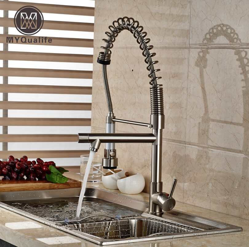 Pull Down Spring Kitchen Sink Faucet Deck Mount Dual Swivel Spout Kitchen Water Tap with Hot and Cold Hose chrome finish dual spout kitchen sink faucet deck mount spring kitchen mixer tap kitchen hot and cold water tap