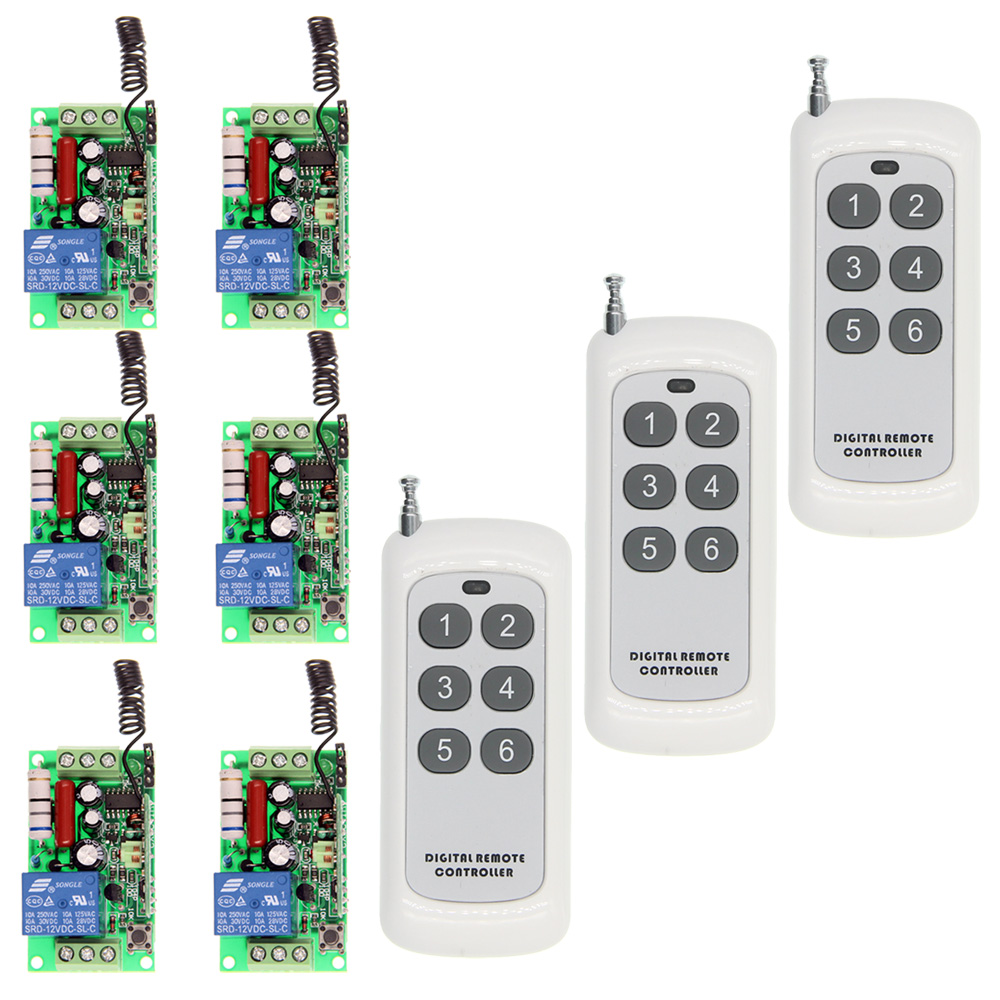 500m AC 220V 110V 1 CH 1CH RF Wireless Remote Control LED Light Motor Switch System, 6CH Transmitter + Receiver ac 220v 110v 1 ch 1ch rf wireless remote control switch system 3 6ch transmitter 6 receiver toggle momentary 315 433 92