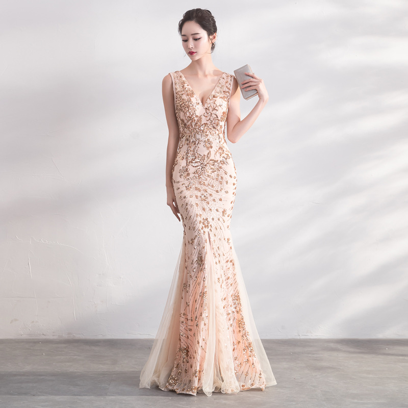 Mermaid   Evening     Dress   Gold Sequins Bling Charming Formal Trumpet Prom   Dresses   Sexy V-neck Sleeveless Long Tank Party Gowns E077